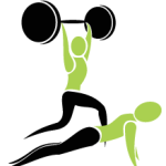 Graphic of two people, one with dumbell above their head and one doing press-ups