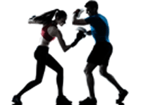 silouette of girl and trainer sparing