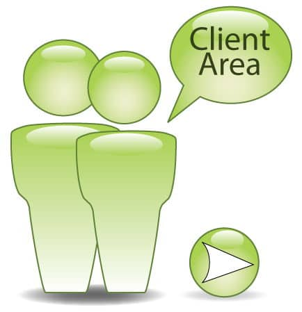 "graphic of two people with speech bubble saying ""client area"""